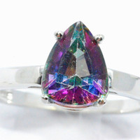 2 Carat Genuine Mystic Topaz Pear Ring .925 Sterling Silver Rhodium Finish White Gold Quality