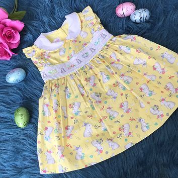 Bonnie Baby Yellow Embroidered Bunny Dress