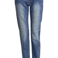 Hilary Crease Effect Stone Washed Low Rise Jeans