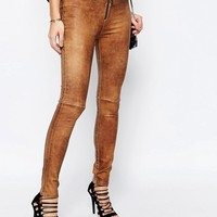 Supertrash Skinny Party Jeans in Cracked Leather Look