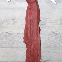 Wipe Out Long Solid Color Acid Wash Crinkle Scarves