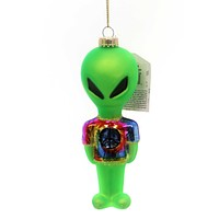 Holiday Ornament Alien W/ Tye Dye Shirt Martian Outer Space Peace - 40268.