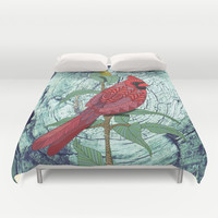 Virginia Cardinal Duvet Cover by ArtLovePassion