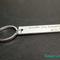 You're My Favorite, Custom Initials, Hand Stamped Aluminum Keychain, Heart Stamp, Cute Couples Gift, Anniversary