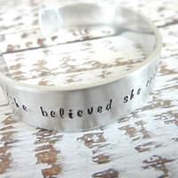 Graduation jewelry She believed she could so she did Hand stamped cuff bracelet adjustable Inspiration bracelet