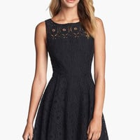 Black Round Neckline Floral Lace Skater Dress