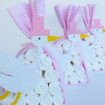 Stork Bundle Baby Shower Center pieces, Stork Diaper Cake, Table Decorations, Baby Girl Shower Decor