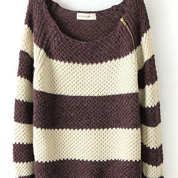 Coffee White Striped Long Sleeve Zipper Sweater from Showmall