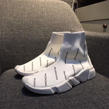 Balenciaga Speed Trainers Stretch Knit Mid Sneakers White Style #3 - Best Online Sale