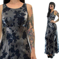 vintage 90s silver satin maxi dress floral blue ROSE print cyber grunge empire waist small