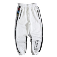 Off White New fashion letter cross arrow print couple pants White