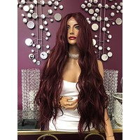 Red Burgundy Swiss Lace Front Wig 26"
