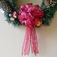 Dark Red Swirl Christmas Bow- Red Gift Bow-Red Bow- Wreath Stair Rail Door Mailbox Tree Topper Decoration