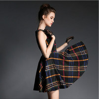 Plaid Sleeveless  A-Line Dress