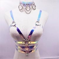 Fashion Harajuku Handmade Clear Laser holographic Choker harness punk Collar belt Necklace Bra Spikes Chain torques club party
