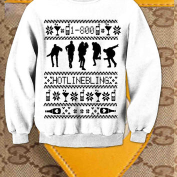Hotline Bling Ugly Xmas Sweater Sweatshirt Drake Christmas Sweater available Black Navy Green Red White Pink Maroon Gray