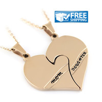 """Mother Daughter Gift - Two Half Hearts Mom and Daughter Necklace Engraved with """"Mom & Daughter"""" 18"""" Chains Included"""
