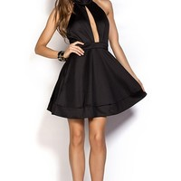 Viviana Black Fit and Flare Backless Halter Dress with Plunging Neckline