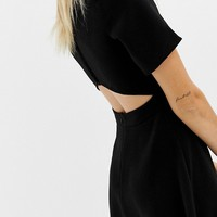 COLLUSION mini high neck skater dress with open back and sports tipping | ASOS