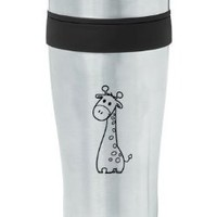 Black 16oz Insulated Stainless Steel Travel Mug Z834 Cute Giraffe Cartoon