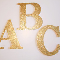Gold Glitter Wooden Hanging Letters