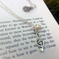 Pearl bead and silver music note necklace
