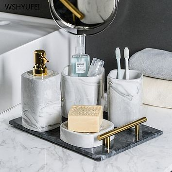 European Bathroom Wash Set Ceramic Soap Dispenser Perfume Bottle Soap Dish Mouthwash Cup With Tray Home bathroom accessories