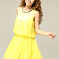 Fresh Summer Beaded Decoration Sleeveless Chiffon Yellow Dress