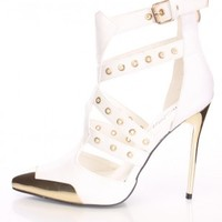White Grommet Detail Strappy Semi Pointed Heels Faux Leather
