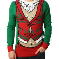 Ugly Christmas Sweater Men's Sexy Santa Pullover Sweater
