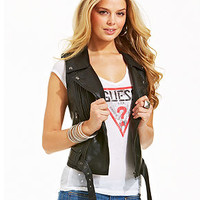 GUESS Fiona Faux-Leather Motorcycle Vest