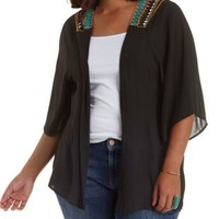 Plus Size Black Combo Embroidered Back Kimono by Charlotte Russe