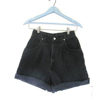 Vintage 80s black jean shorts. high waisted CHIC shorts. women's size 6