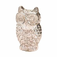 Silvery Glass Owl Figurine