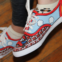Hand Painted Mario Bros Sneakers Size 7.5 Geekery Video Game