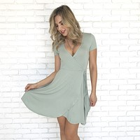 Eastport Wrap Dress in Sage