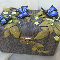 Jewelry box, small yellow flowers and butterflies. Colorful box. Unique gift for lovely person.