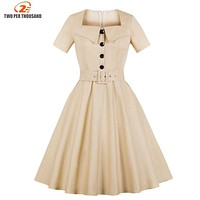 S-4XL Plus Size Summer Dress 2018 Vintage Rockabilly Dress Jurken 50s Retro Big Swing Pinup Women Audrey Hepburn Dress Vestidos