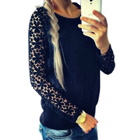 'The Nahoko' Lace Long Sleeve Knitted Pullover