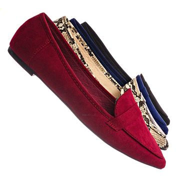 Diary42 Pointed Toe Penny Loafer - Womens Flat Slip On Oxford Moccasins