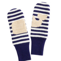 Vineyard Vines Stripe Whale Mittens- Nautical Navy