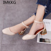 IMKKG 2017 fashion New style women shoes  Mid heels women sandals female thick heel women shoes S315