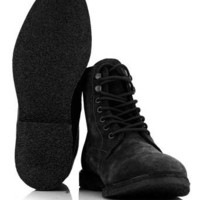 Black Suede Lace Up Boots - Boots  - Shoes and Accessories