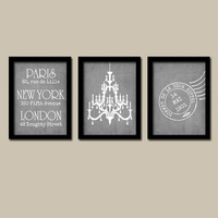 Paris London New York Wall Art CANVAS Grunge Chandelier Gray Grey  Set of 3 Trio Prints   Decor  Bedroom Bathroom Three