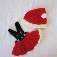 Baby Girl Santa Suit Combo Photo Prop Skirt and Hat  Newborn - 6mths