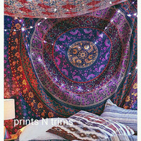 Large Indian Mandala Tapestry Hippie Hippy Wall Hanging Throw Bedspread Dorm Medallion Tapestry Wall Hanging , Picnic Beach Sheet Coverlet