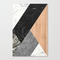 Marble and Wood Abstract Canvas Print by Santo Sagese