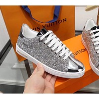 LV Louis Vuitton Popular Women Casual Shiny Sequins Flats Sport Shoes Sneakers Silvery I-ALS-XZ