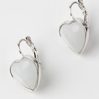 White Heart Stone Clip-on Earrings