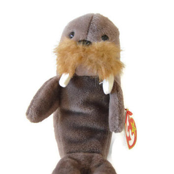 Free US Shipping, Ty Jolly the Walrus Beanie Baby DOB December 2 1996 Retired, Vintage Stuffed Toy, Vintage Plush, Collectible